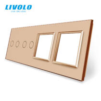 Livolo négyes sorolókeret 2x kettes kapcsolóhoz + 2x dugaljhoz, arany kristályüveg
