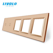 Livolo ötös keret 2x egyes kapcsolóhoz + 3x dugaljhoz-konnektorhoz-csatlakozó-aljzathoz, arany kristály-üvegkeret