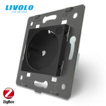 Livolo zigbee dugalj 2P+F 16A 250V fekete konnektor
